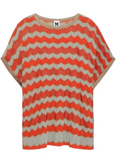 M Missoni Woman Striped Crochet-knit Cotton-blend Top Bright Orange