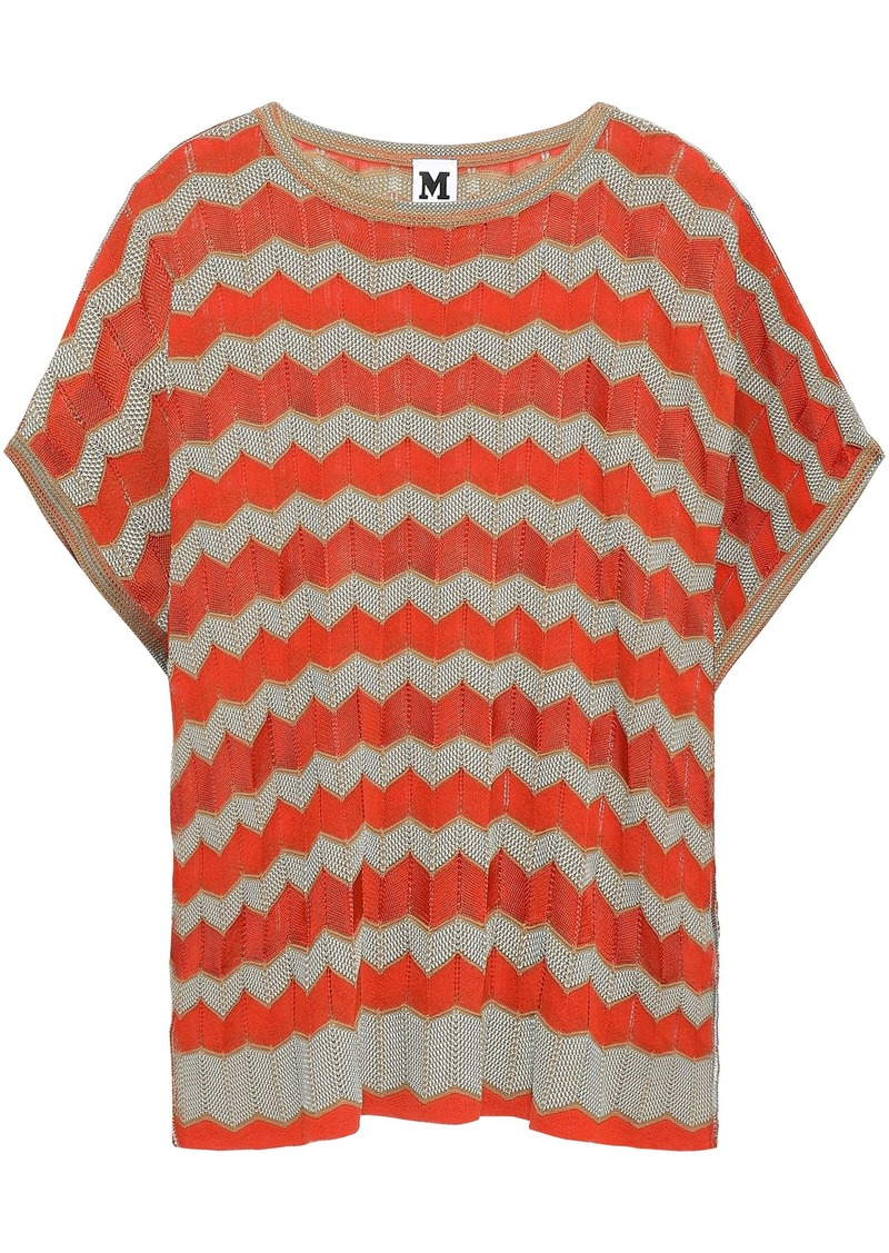 M Missoni Woman Striped Crochet-knit Cotton-blend Top Bright Orange