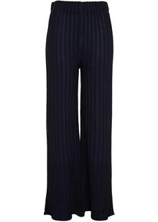 M Missoni Woman Striped Crochet-knit Cotton-blend Wide-leg Pants Navy