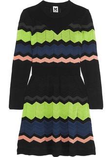 M Missoni Woman Striped Crochet-knit Mini Dress Black