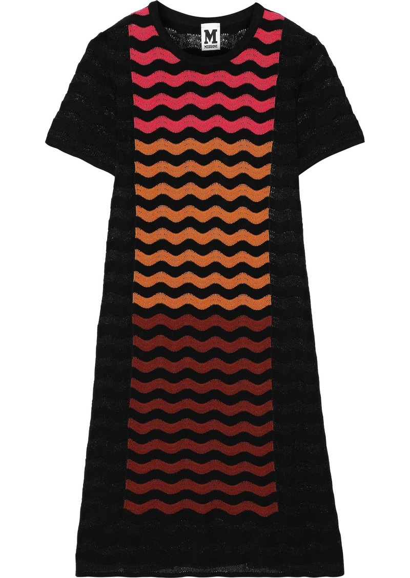 M Missoni Woman Striped Crochet-knit Mini Dress Black