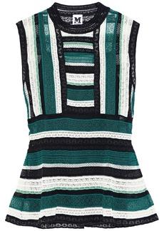 M Missoni Woman Striped Crochet-knit Peplum Top Petrol