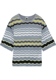 M Missoni Woman Striped Crochet-knit Top Storm Blue