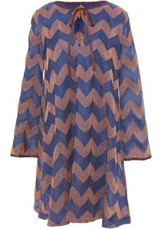 M Missoni Woman Striped Metallic Crochet-knit Mini Dress Indigo