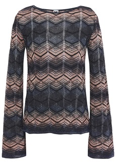 M Missoni Woman Striped Metallic Crochet-knit Top Dark Gray