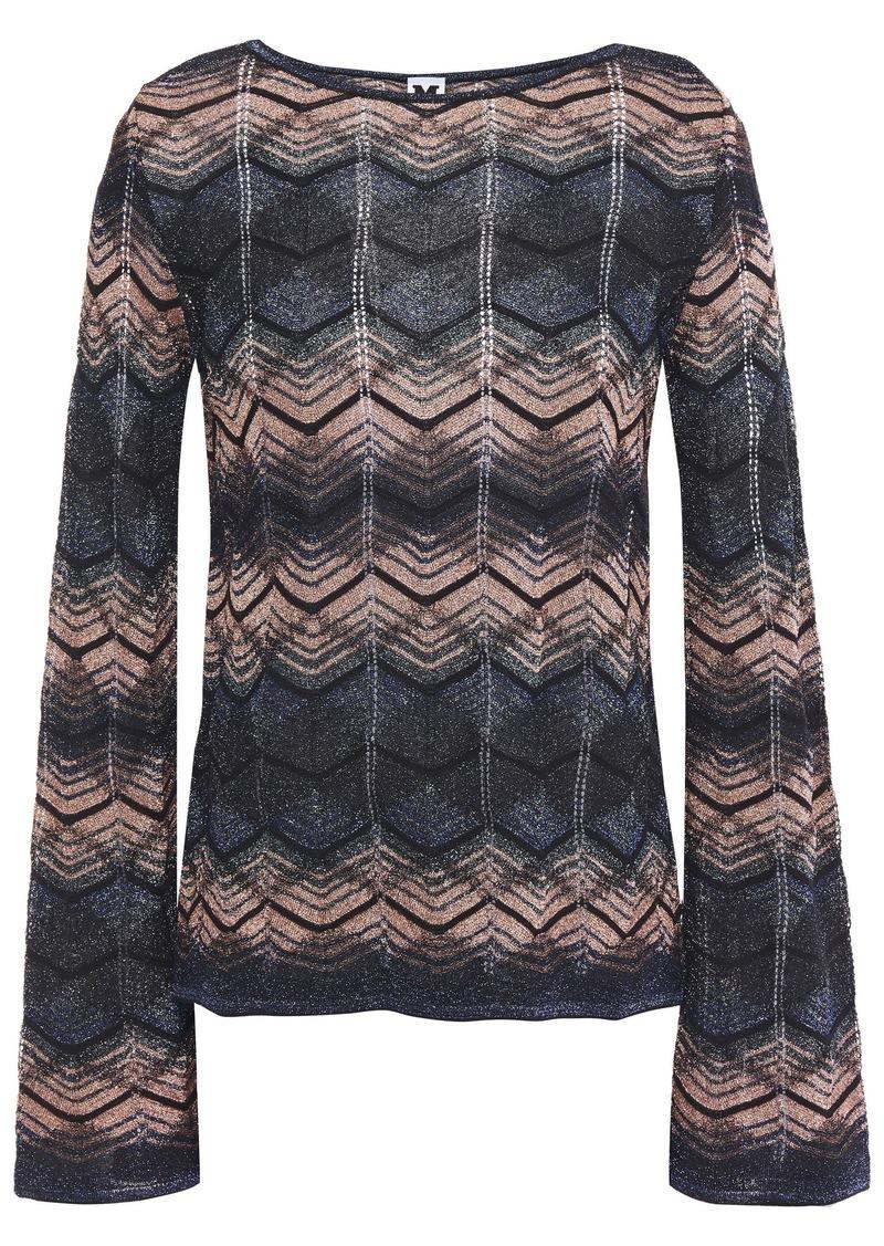M Missoni Woman Striped Metallic Crochet-knit Top Dark Gray