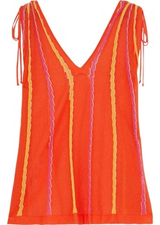 M Missoni Woman Tie-detailed Striped Crochet-knit Cotton-blend Top Bright Orange