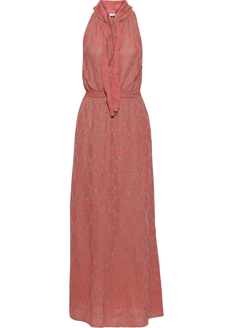 M Missoni Woman Pussy-bow Metallic Crochet-knit Maxi Dress Coral