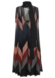 M Missoni Woman Tie-neck Metallic Crochet-knit Mini Dress Black