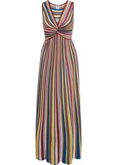 M Missoni Woman Twist-front Striped Crochet-knit Maxi Dress Multicolor