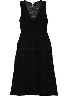 M Missoni Woman Wrap-effect Crochet-knit Cotton-blend Dress Black