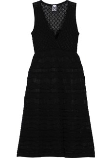M Missoni Woman Wrap-effect Crochet-knit Cotton-blend Dress Black
