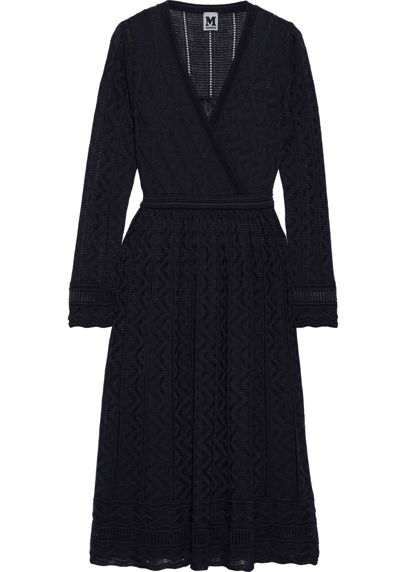 M Missoni Woman Wrap-effect Crochet-knit Wool-blend Dress Navy