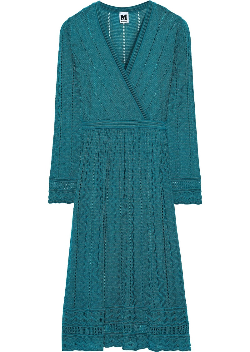 M Missoni Woman Wrap-effect Crochet-knit Wool-blend Dress Teal