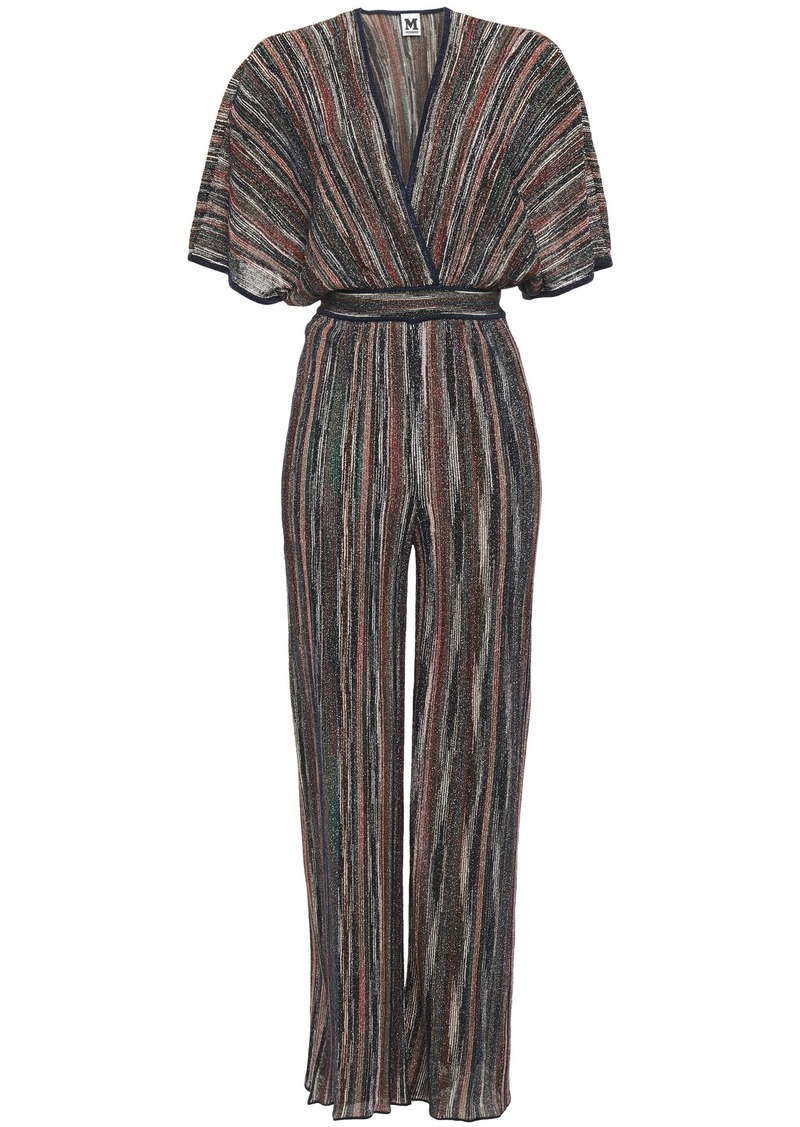 M Missoni Woman Wrap-effect Striped Metallic Ribbed-knit Wide-leg Jumpsuit Navy