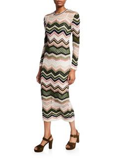M Missoni Zigzag Crewneck Long-Sleeve Midi Dress