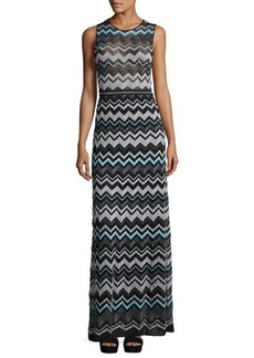 M Missoni Zigzag-Knit Metallic Maxi Dress