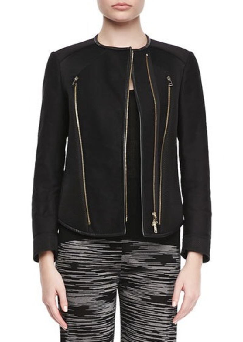 M Missoni Zipper Leather-Trim Jacket