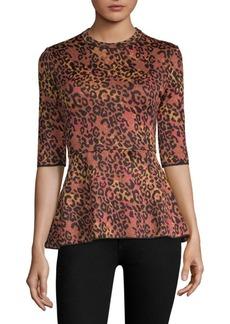 M Missoni Maglia Leopard-Print Peplum Top