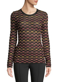 M Missoni Metallic Checker Long-Sleeve Top