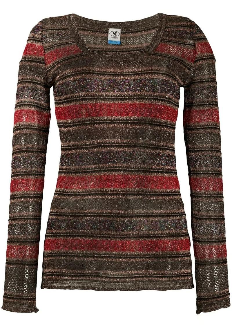 M Missoni metallic chevron-knit top