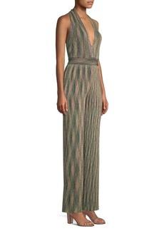M Missoni Metallic Knit Striped Jumpsuit