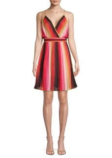 M Missoni Metallic Stripe Sleeveless A-Line Dress