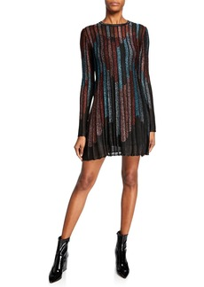 M Missoni Metallic Striped Long-Sleeve Mini Dress