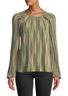 M Missoni Metallic Striped Long-Sleeve Top