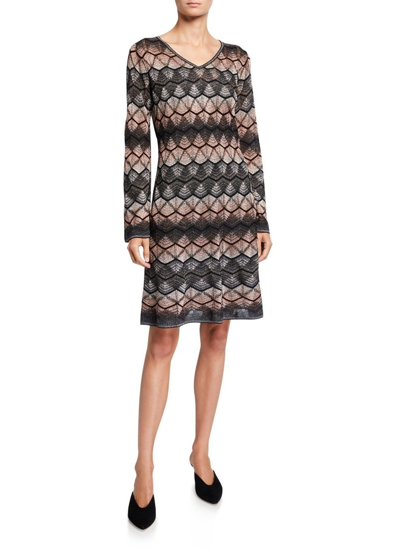 M Missoni Metallic Zig Zag Long-Sleeve Short Dress