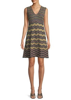 M Missoni Metallic Zigzag A-Line Dress