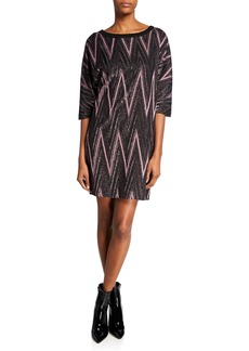 M Missoni Metallic Zigzag Elbow-Sleeve Mini Shift Dress
