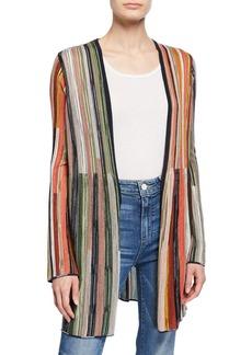 M Missoni Multicolor Stripe Long-Sleeve Open-Front Cardigan