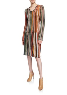 M Missoni Multicolor Striped V-Neck Long-Sleeve Short Dress