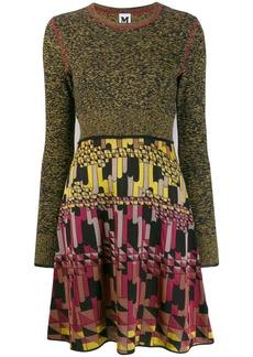M Missoni pleat skirt printed mini-dress