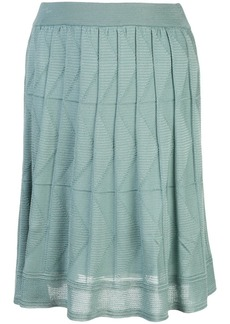 M Missoni pleated chevron-knit skirt