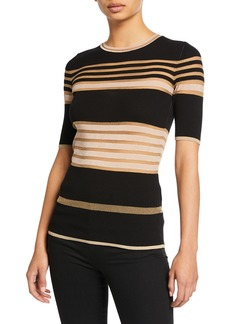 M Missoni Sheer Striped Crewneck Short-Sleeve Tee