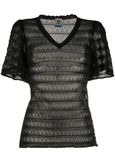 M Missoni sheer zig-zag knit T-shirt