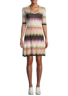 M Missoni Short Chevron Jacquard Short-Sleeve Dress