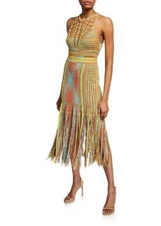 M Missoni Sleeveless Crochet Midi Dress with Fringe Hem