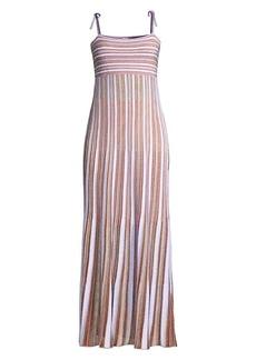 M Missoni Striped Glitter-Knit Sleeveless Dress