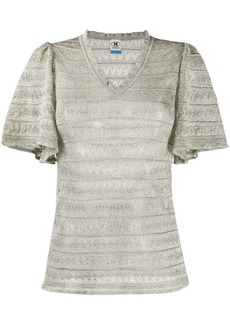 M Missoni striped ruffled-sleeved top
