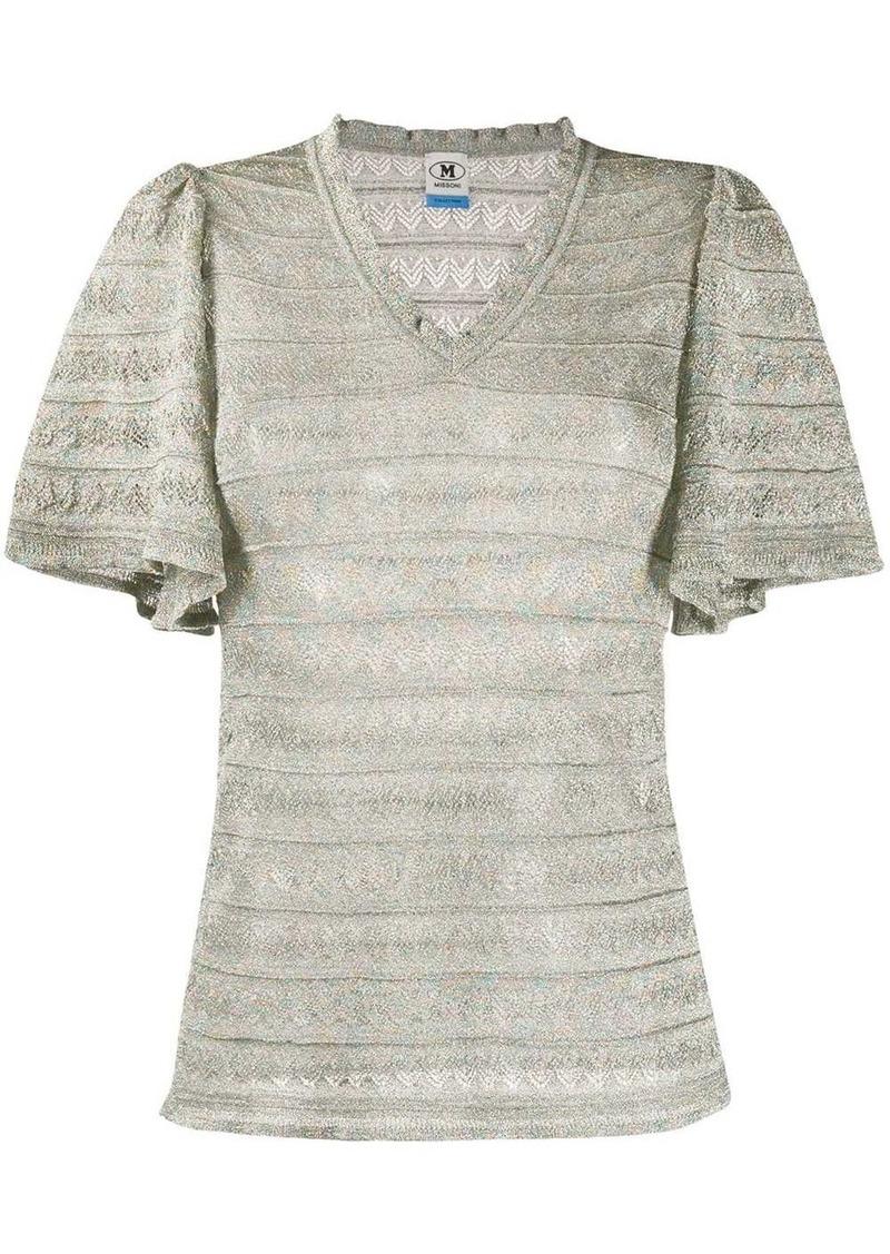 M Missoni striped ruffled-sleeved top