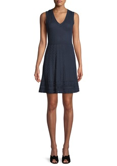 M Missoni Textured Knit V-Neck Dress