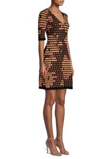 M Missoni Textured Metallic Knit Flare Dress