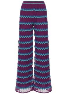 M Missoni Zig Zag Flared Knit Cotton Blend Pants
