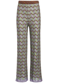 M Missoni Zig Zag Pattern Knit Lurex Pants