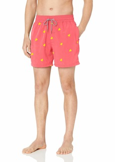 """Maaji Men's Embroidered Elastic Waist Mid Length Swimsuit 6"""" Inseam Day Tripper red Leaf Embroidery"""