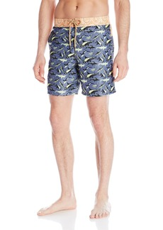 "Maaji Men's Printed Elastic Waist Long Length Swimsuit Trunks 8"" Inseam"