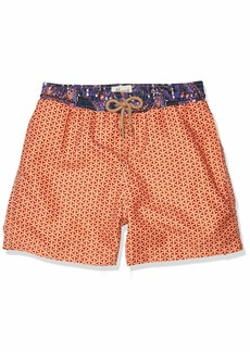 "Maaji Men's Printed Elastic Waist Mid Length Swimsuit Trunks 5"" Inseam"